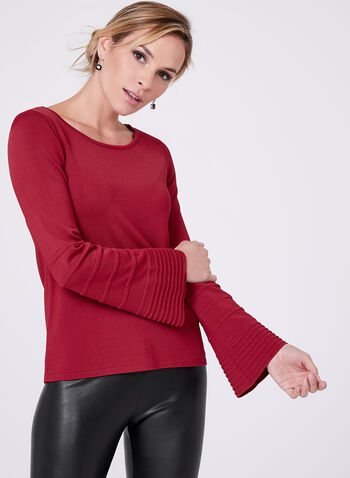 Bell Sleeve Stripe Detail Sweater, Red, hi-res