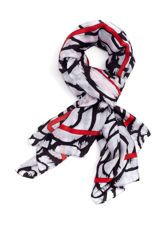 Large Floral Print Oblong Wrap Scarf, Black, hi-res