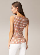 Polka Dot Print Sleeveless Top, Brown
