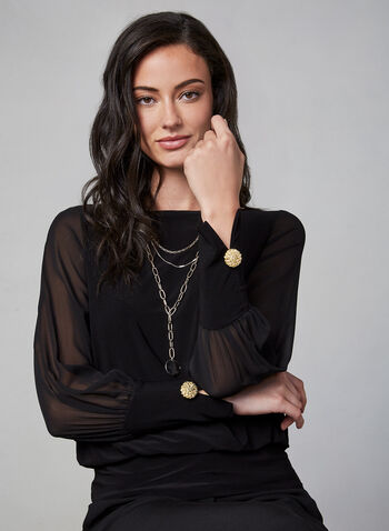 Chiffon Sleeve Top, Black, hi-res,  fall winter 2019, Jersey, chiffon sleeves, long sleeves, scoop neck