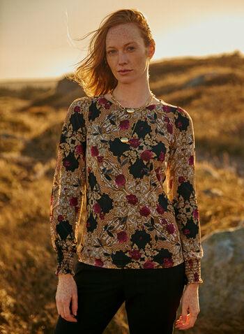 Blouse en maille filet à imprimé baroque floral, Noir,  automne hiver 2020, fait au Canada, maille filet, fleurs, motif, motifs, manches longues, smocké