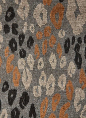 Foulard à motif animal abstrait , Gris,  animal, imprimé, motif, foulard, acrylique, franges, automne hiver 2020