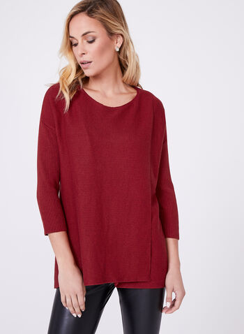 3/4 Sleeve Ribbed Sweater, Orange, hi-res