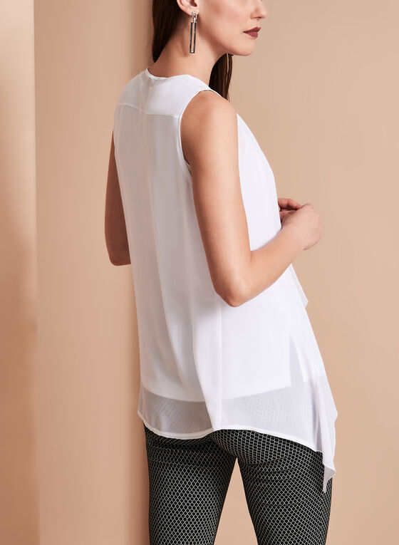 Sleeveless Cutout Camisole with Sheer Cascade Vest, White, hi-res