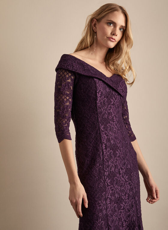Alex Evenings - Glitter Lace Dress, Purple