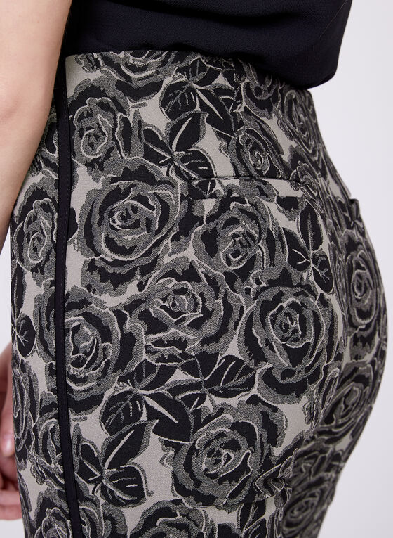 Pantalon pull-on à jambe étroite avec jacquard floral, Noir, hi-res