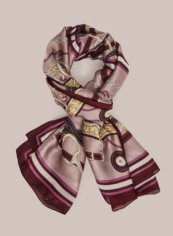 Belt Print Scarf, Purple,  scarf, print, fall winter 2020