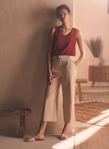 Belted Gaucho Pants, Off White,  pants, pull-on, gaucho, belt, pleats, pockets, spring summer 2020