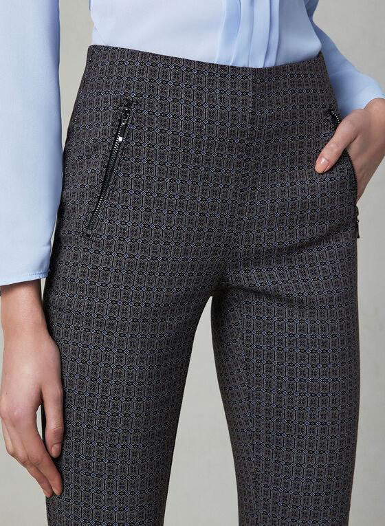 Pantalon pull-on à imprimé abstrait, Bleu, hi-res