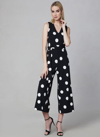 Karl Lagerfeld Paris - Polka Dot Print Jumpsuit, Black, hi-res