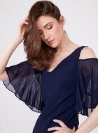 Frank Lyman – Ruffled Sleeve Cold Shoulder Dress, Blue, hi-res