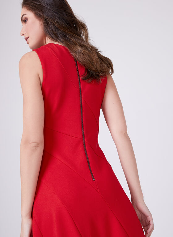 Adelyn Rae - Sleeveless Asymmetric Zip Front Dress , Red, hi-res