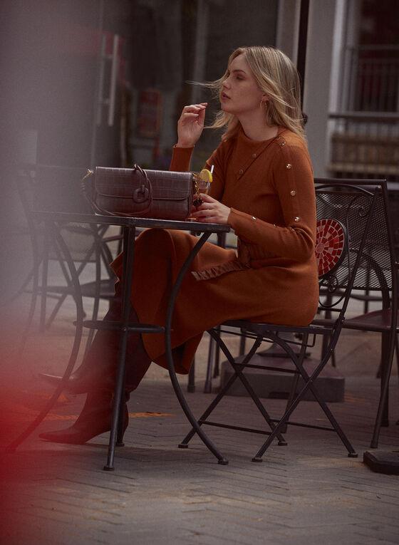 Split Collar Knit Dress, Brown