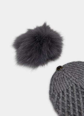 Bonnet en tricot à pompon de fourrure , Gris, hi-res,  fourrure, fourrure véritable, fourrure de renard, automne hiver 2019