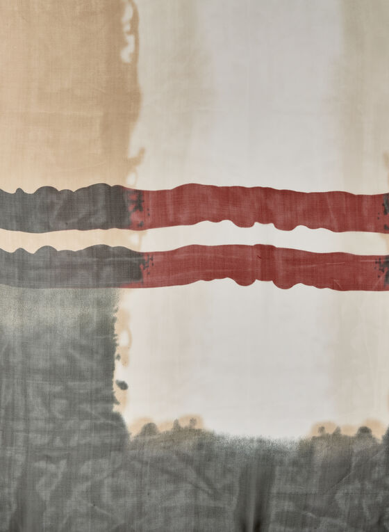 Foulard léger motif tartan, Noir