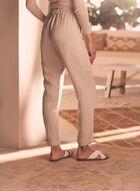 Pantalon taille froncée à jambe droite, Blanc cassé