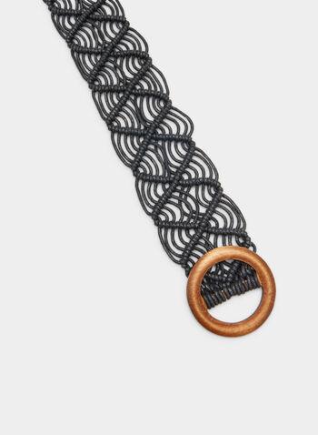 Open Weave Braided Belt, Black, hi-res