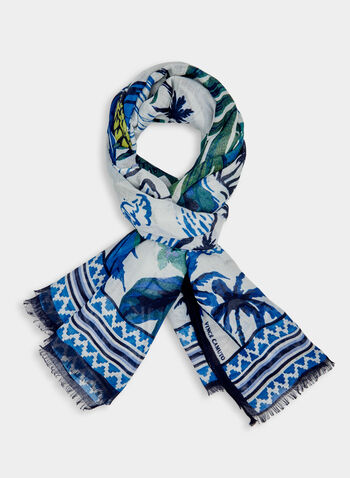 Foulard à imprimé tropical, Bleu,  ananas, feuilles de palmiers, palmes, îles, voiliers, fichu, écharpe, printemps 2019