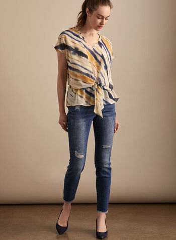 Striped Print Layered Blouse, Multi,  top, layered, abstract, striped. print, v-neck, short sleeves, spring summer 2020