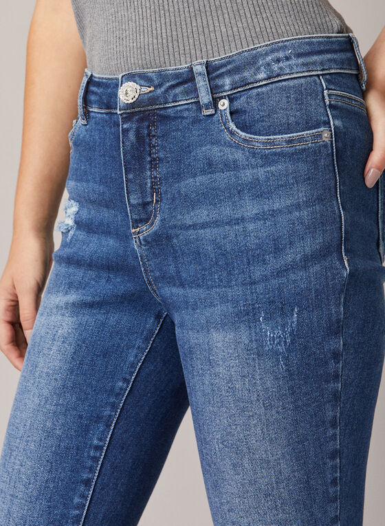 Distressed Slim Leg Jeans, Blue
