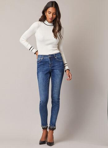 Jeans étroit à ourlet ornementé, Bleu,  jeans, étroit, denim, perles, billes, dentelle, automne hiver 2020