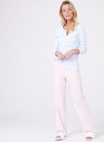 Flannel Pants & Contrast Top Pyjama Set , , hi-res
