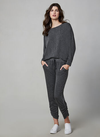 Vince Camuto - Long Sleeve Top , Grey,  top, long sleeves, boat neck, dolman sleeves, comfortable & stretchy, fall 2019, winter 2019