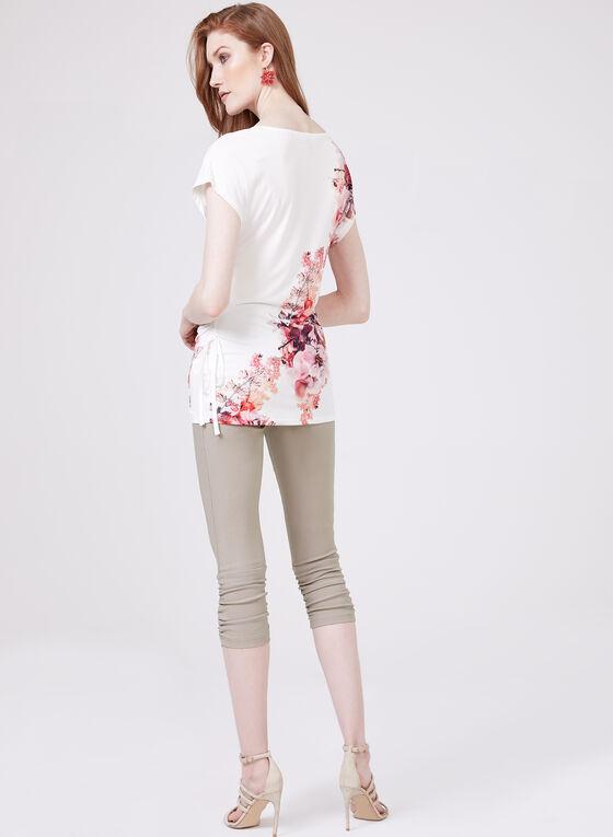 Floral Print Faux Wrap Top, White, hi-res