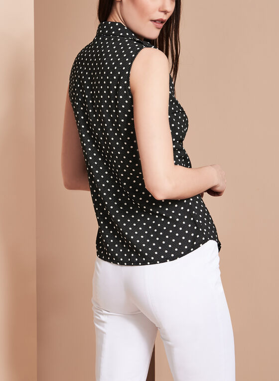 Vex Sleeveless Dot Print Blouse, Black, hi-res