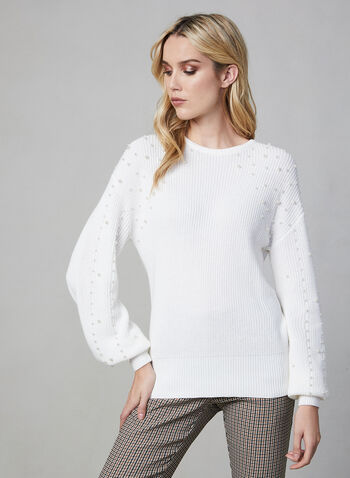 Pearl Detail Sweater, Off White, hi-res,  sweater, knit, long sleeves, pearls, fall 2019, winter 2019
