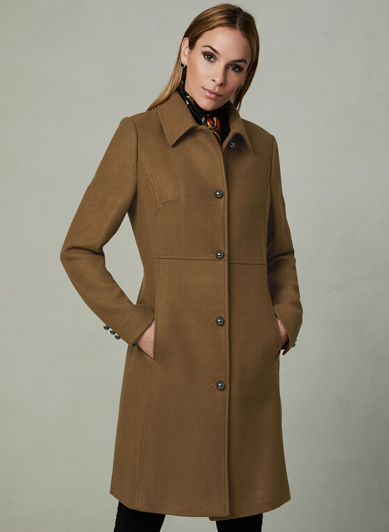 Novelti - Wool Blend Coat, Brown, hi-res