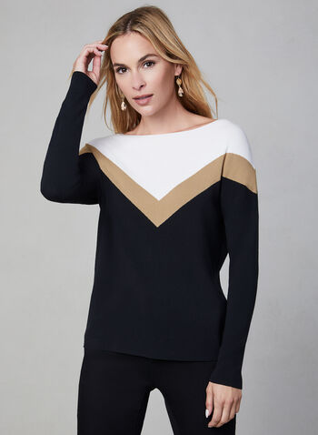 Colour Block Knit Sweater, Black, hi-res