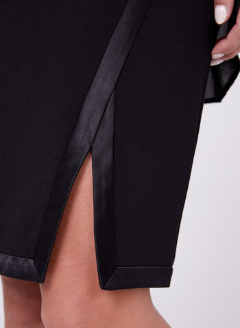 Satin Trim Pencil Skirt, Black, hi-res