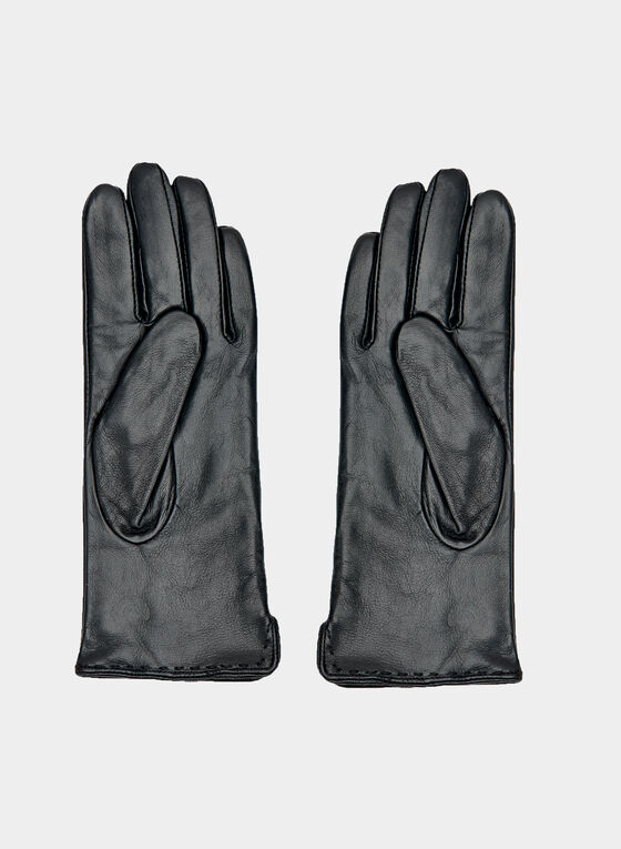 Stitch Detail Leather Gloves, Black, hi-res