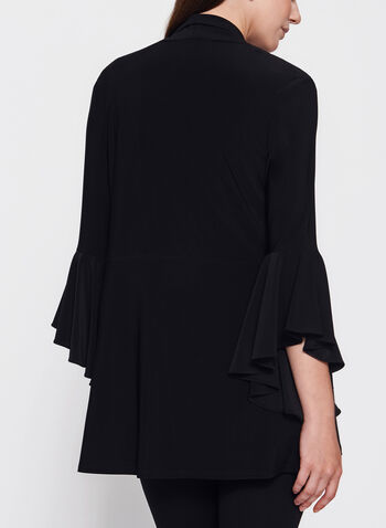 Frank Lyman - 3/4 Bell Sleeve Open Front Top , Black, hi-res