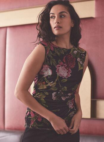 Floral Print Cap Sleeve Top, Black,  top, floral, boat neck, cap sleeve, spring summer 2021
