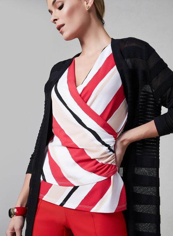 Stripe Print Sleeveless Top, White