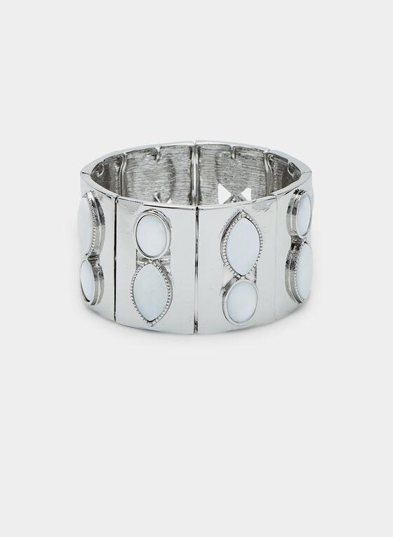 Bracelet élastique avec insertions géométriques, Blanc, hi-res