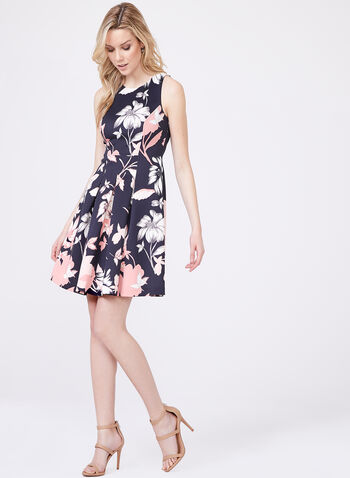 Vince Camuto - Floral Print Scuba Fit & Flare Dress , Blue, hi-res