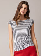Stripe Print Cap Sleeve Top, Blue