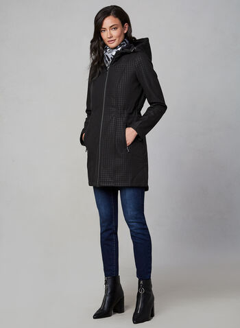 Houndstooth Softshell Coat, Black, hi-res,  houndstooth, print, print coat, coat, quilt, vest, hood, pockets, fall 2019, winter 2019