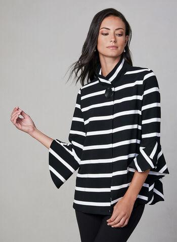 Frank Lyman - Stripe Print  Blazer, Black, hi-res,  blazer, bell sleeves, stripe print, fall winter 2019
