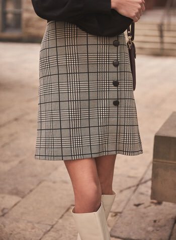 Jupe portefeuille à carreaux et boutons, Noir,  automne hiver 2020, jupe, carreaux, motif, carreauté, tricot, boutons, portefeuille, cuir