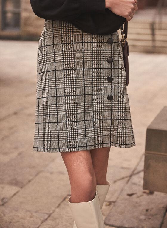 Plaid Print Button Detail Skirt, Black