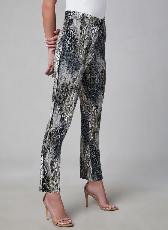 Pantalon pull-on à motif peau de serpent, Noir, hi-res