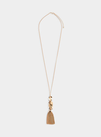 Tassel Pendant Necklace , Gold,  necklace, geometric pendant, tassel, fall 2019