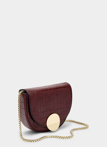 Crocodile Print Saddle Bag, Red,  half moon, disc, chain, fall 2019, winter 2019