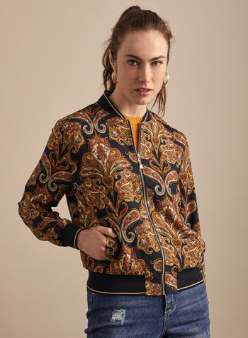 Paisley Print Bomber Jacket, Blue,  bomber jacket, paisley, zipper, pockets, spring summer 2020