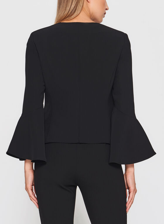 Bell Sleeve Cropped Blazer, Black, hi-res