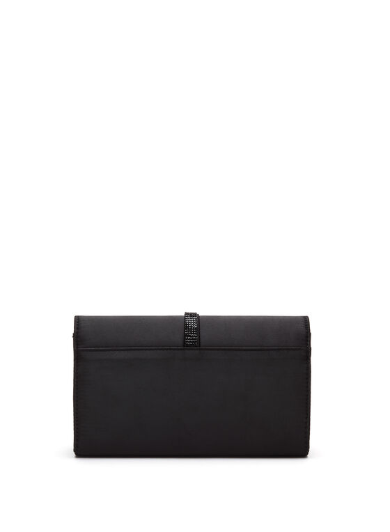 Glitter Metallic Satin Clutch, Black, hi-res